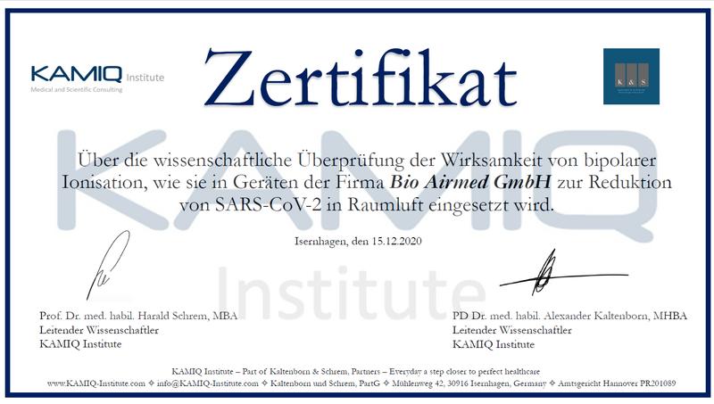 Zertifikat BioAirmed